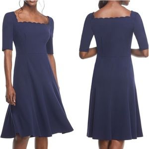 Gal Meets Glam Navy Maria Scallop Crepe Dress